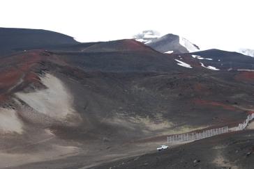 Volcan Orsono, lava fields in summer, ski slopes in winter.