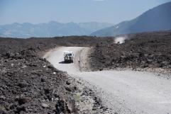 Driving through Volcan Lliama's lava field.