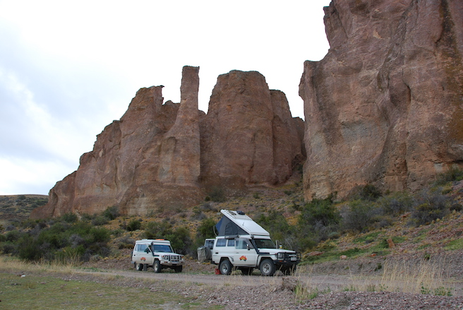 Campsite in the bottom of the canyon, escaping the wind!