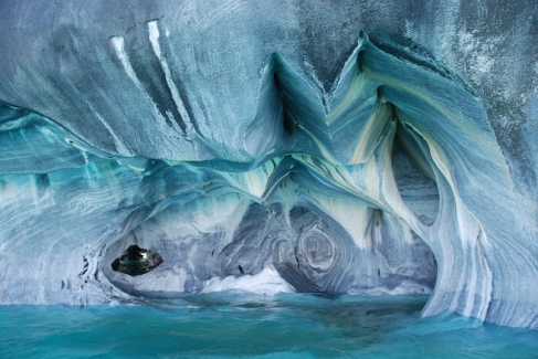 Beautiful patterns inside the marble caves