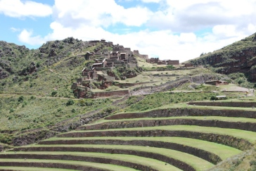 The terracing sits below the temple at the top of the steep mountain.