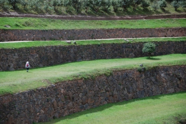 Ailsa kindly walked along to give an idea of the scale of the terracing.