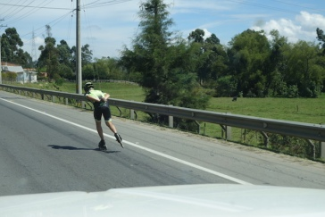 On a highway north of Medellin - the Colombian speed skating representative out training.