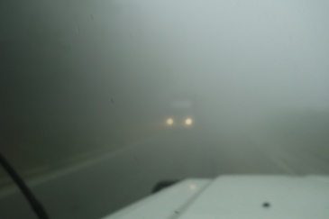 The thickest fog we've ever driven through.
