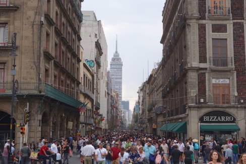 A few people out shopping in the city on Saturday afternoon.