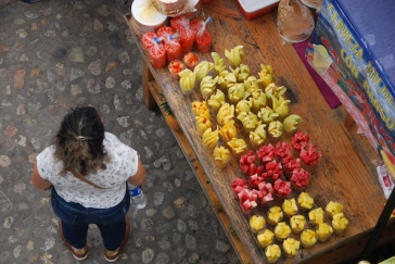 the view down to the fruit stall...mango, watermelon and pineapple.