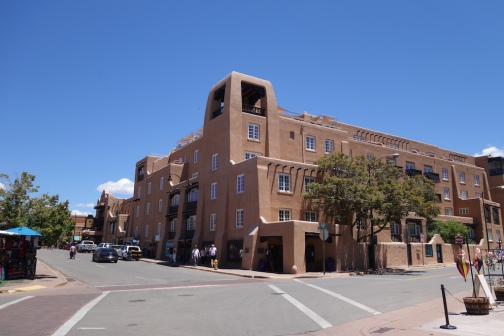 Santa Fe's CBD buildings are completed in the traditional adobe style.