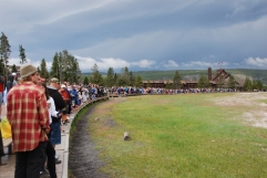 Just a few people waiting for Old Faithful!