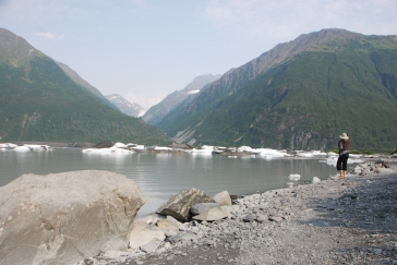 The glacial lake complete with icebergs below Valdez Glacier