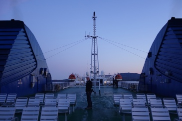 6.00am on the top deck - COLD!